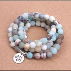 Jewelry - Amazonite Beads with Lotus Charm Yoga 108 Mala